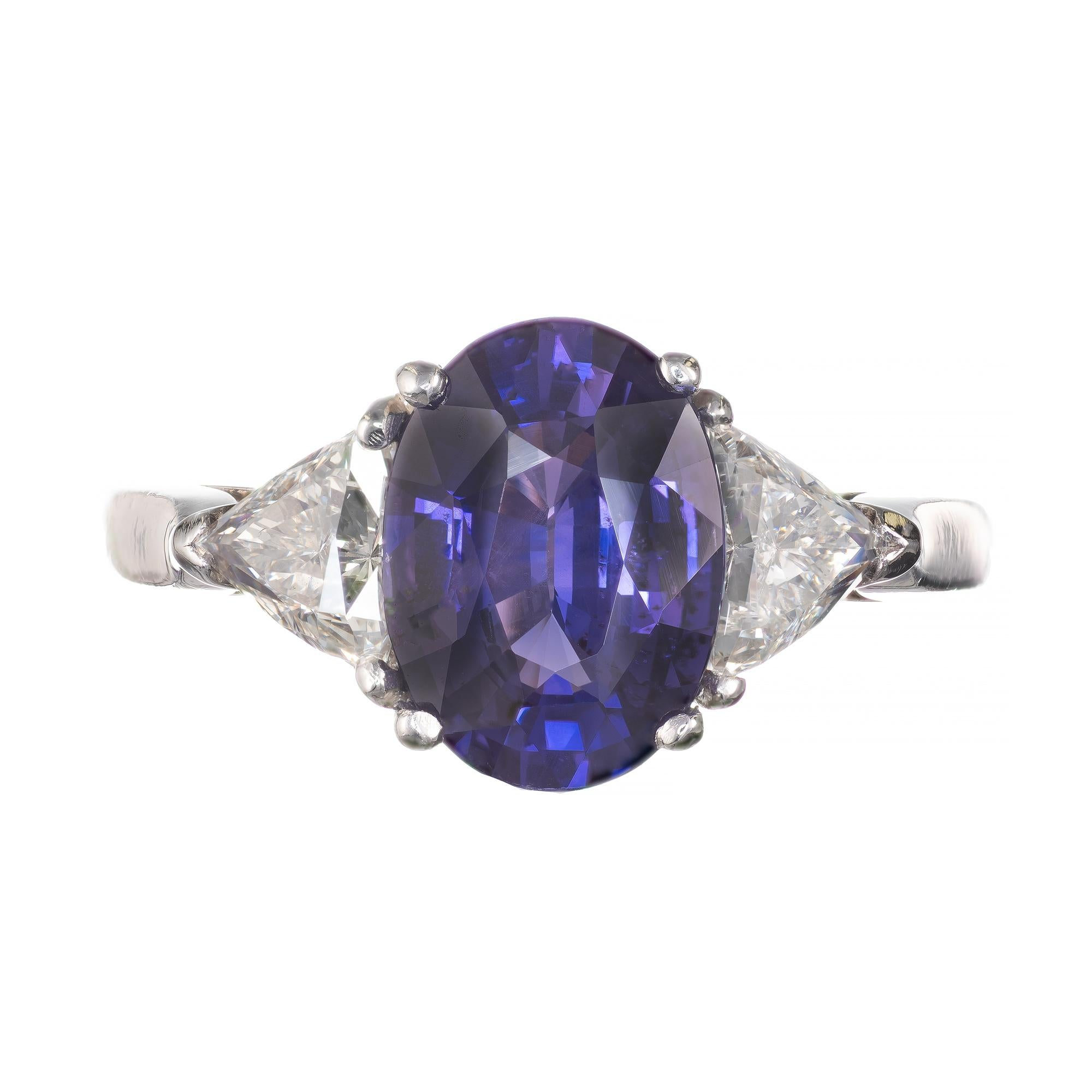 Peter Suchy GIA Certified 3.48 Carat Sapphire Diamond Platinum Engagement Ring