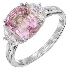 Peter Suchy GIA Certified 3.50 Carat Pink Sapphire Diamond Platinum Ring