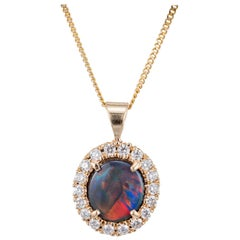 Peter Suchy GIA Certified .36 Carat Opal Diamond Yellow Gold Pendant Necklace