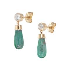 Peter Suchy GIA Certified 3.79 Carat Emerald Diamond Yellow Gold Dangle Earrings