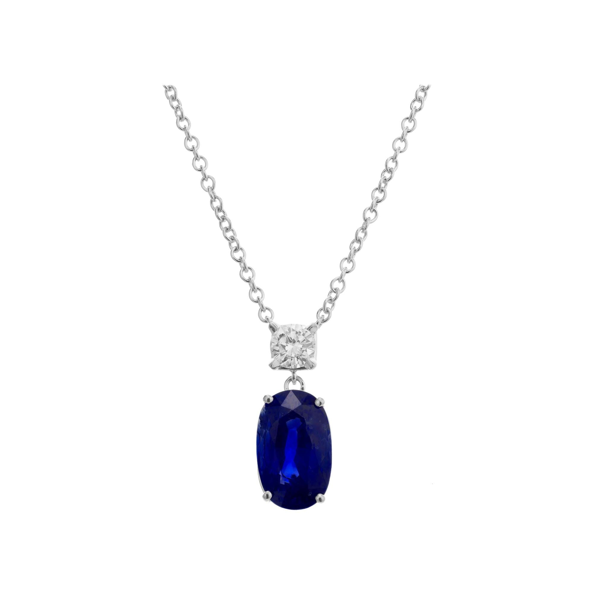 Peter Suchy GIA Certified 3.82 Carat Blue Sapphire Diamond Gold Pendant Necklace