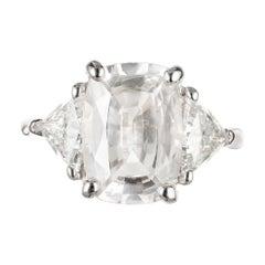 Peter Suchy GIA Certified 4.42 Carat Sapphire Diamond Platinum Engagement Ring