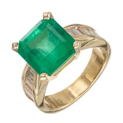 Peter Suchy GIA Certified 4.52 Carat Emerald Diamond Yellow Gold Engagement Ring