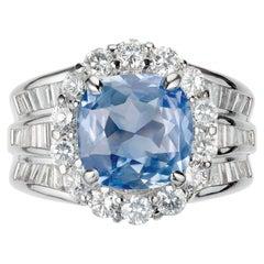 Peter Suchy GIA Certified 4.77 Carat Sapphire Diamond Platinum Engagement Ring