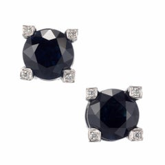 Peter Suchy GIA Certified 5.02 Carat Sapphire Diamond Stud Earrings