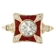 Peter Suchy GIA Certified .52 Carat Diamond Ruby Yellow Gold Engagement Ring