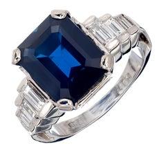 Peter Suchy GIA Certified 5.21 Carat Sapphire Diamond Platinum Engagement Ring