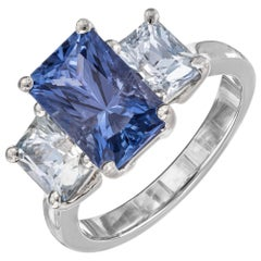 Peter Suchy GIA Certified 5.73 Carat Blue Sapphire Platinum Engagement Ring