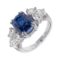 Peter Suchy GIA Certified 5.87 Carat Sapphire Diamond Platinum Engagement Ring