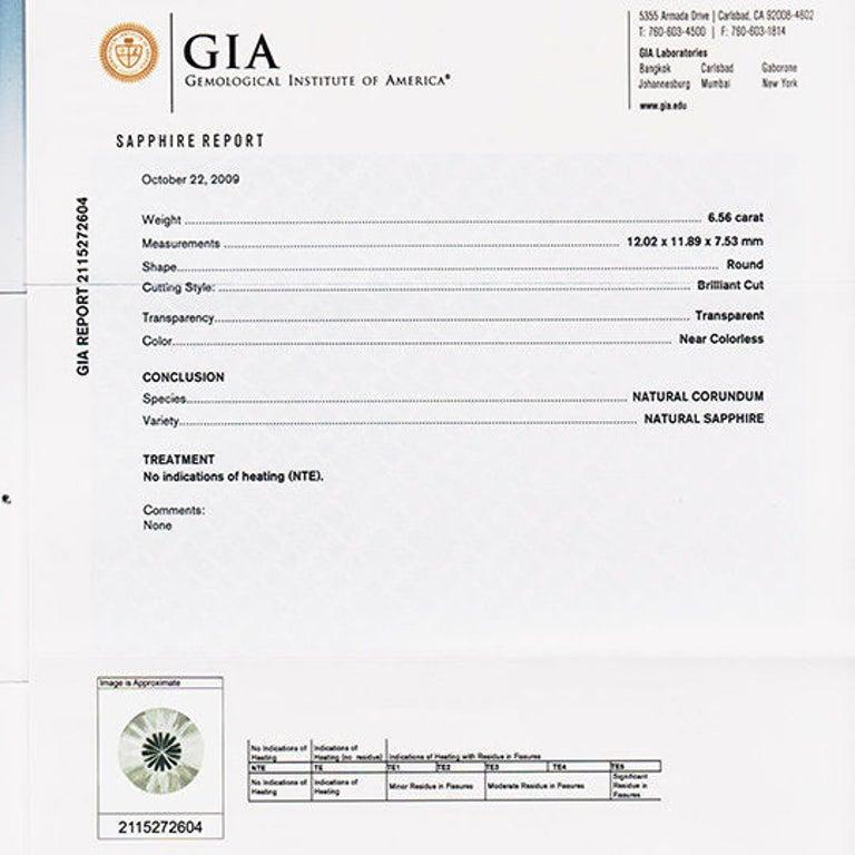 Peter Suchy GIA Certified 6.56 White Sapphire Diamond Platinum Engagement Ring In New Condition For Sale In Stamford, CT