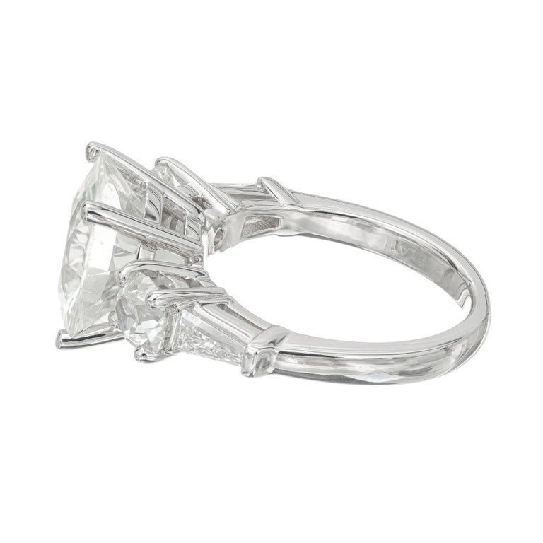 Women's Peter Suchy GIA Certified 6.56 White Sapphire Diamond Platinum Engagement Ring For Sale