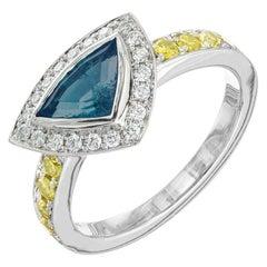 Peter Suchy GIA Certified .78 Carat Paraiba Tourmaline Diamond Platinum Ring