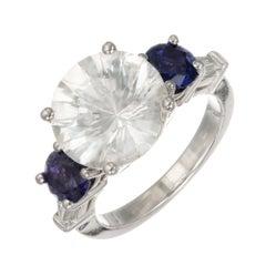 Peter Suchy GIA Certified 7.88 Carat Sapphire Diamond Three-Stone Platinum Ring