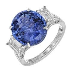 Peter Suchy GIA Certified 8.16 Carat Sapphire Diamond Engagement Platinum Ring