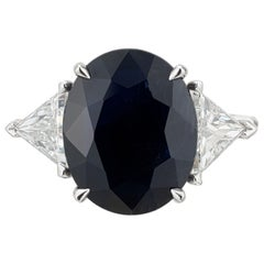 Peter Suchy GIA Certified 8.34 Carat Sapphire Diamond Platinum Engagement Ring