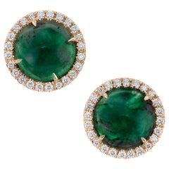 Peter Suchy GIA Certified 8.85 Carat Emerald Diamond Halo Yellow Gold Earrings
