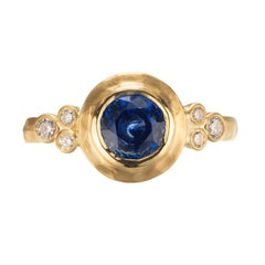 Peter Suchy GIA Certified .93 Carat Sapphire Diamond Yellow Gold Engagement Ring