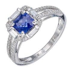 Peter Suchy GIA Certified .96 Carat Blue Sapphire Diamond Gold Engagement Ring