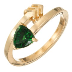 Peter Suchy GIA Certified .96 Carat Tsavorite Garnet Yellow Gold Arrow Ring