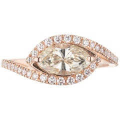 Peter Suchy GIA Certified .98 Carat Yellow Diamond Rose Gold Engagement Ring