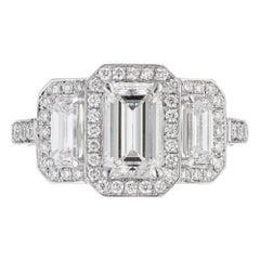Peter Suchy GIA Certified .99 Carat Diamond Triple Halo Platinum Engagement Ring