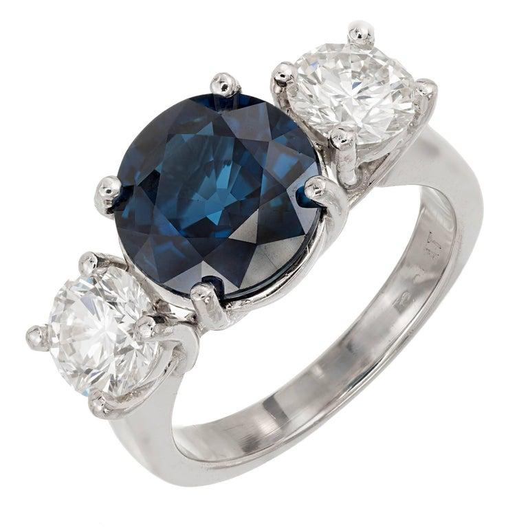 Peter Suchy 3.92 Carat Sapphire Diamond Three-Stone Platinum Engagement Ring