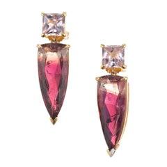 Peter Suchy Pink Bi-Color Tourmaline Gold Dangle Earring