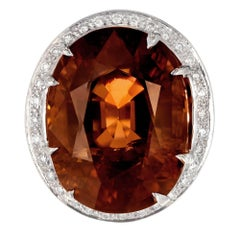 Peter Suchy 27.45 Carat Brown Tourmaline Diamond Halo Gold Cocktail Ring