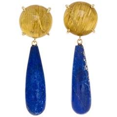 Peter Suchy Quartz Lapis Yellow Gold Dangle Earrings