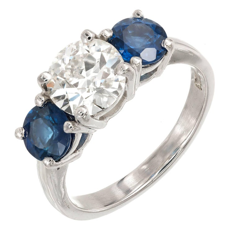 Peter Suchy 3.21 Sapphire Diamond Three-Stone Platinum Engagement Ring