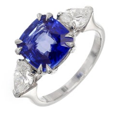 Peter Suchy 4.50 Carat Sapphire Diamond Platinum Three-Stone Engagement Ring