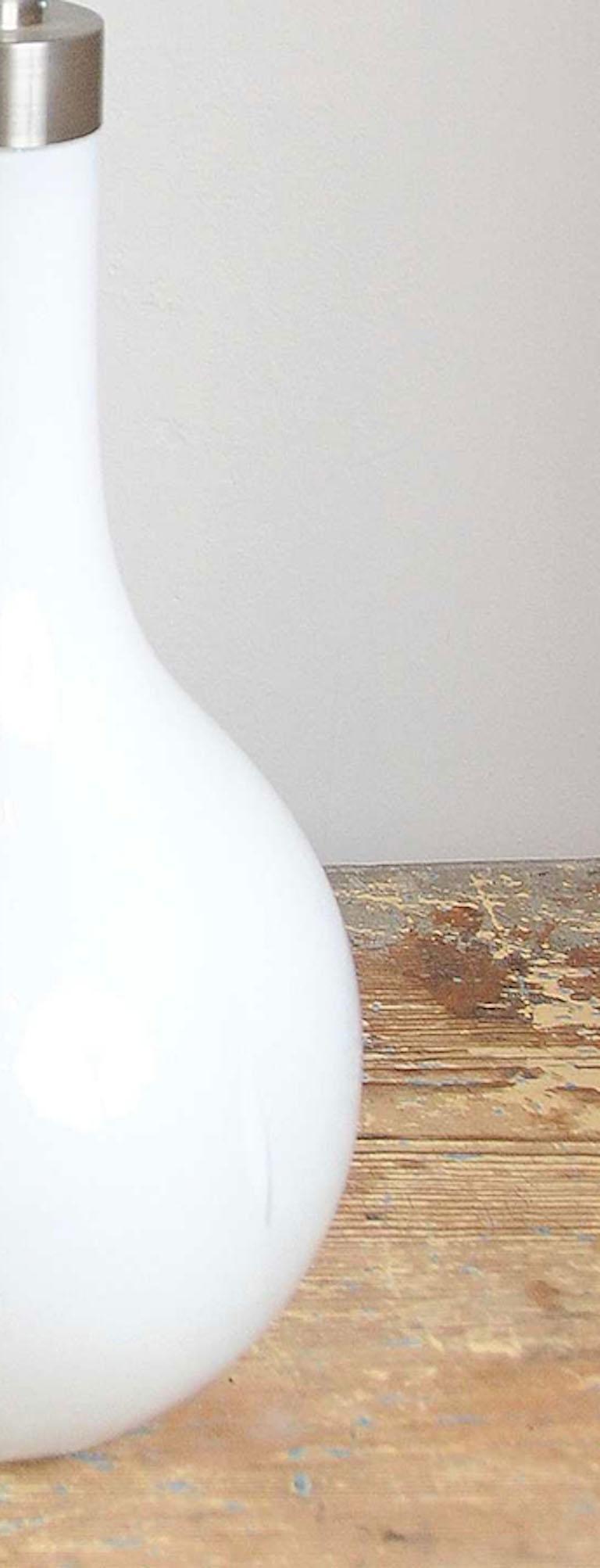 Danish Peter Svarrer, Hand-blown White Milk Glass + Brass