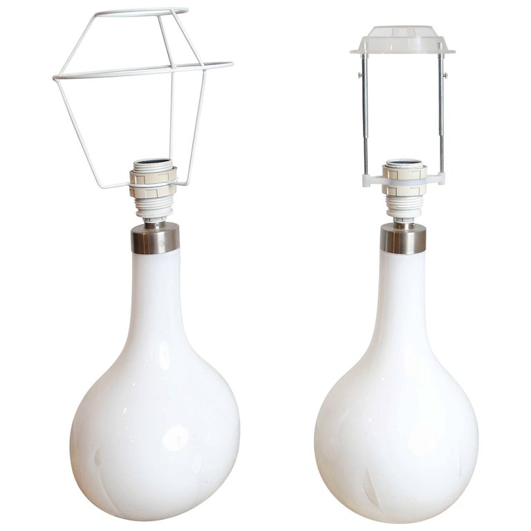 "Peter Svarrer, ""Helios"" Table Lamps, Hand-blown White Milk Glass and Brass For Sale"