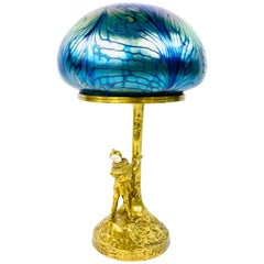 Peter Tereszczuk Bronze, Bone and Loetz Art Glass Table Lamp
