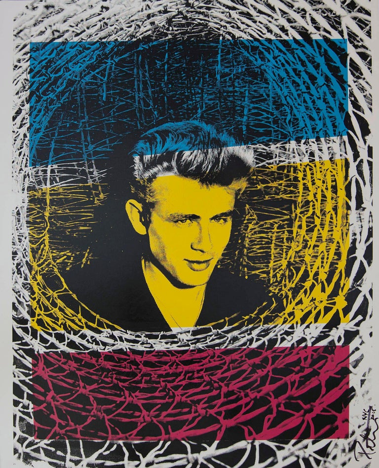 James Dean, color headshot, an amazing original artwork by Peter Tunney on heavy board.  Acrylic paint and hand-pulled subscreen on archival museum board. This is a original piece of art signed by the artist in 2015.  Artist Peter Tunney has led a