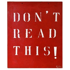 "Peter Tunney Oil on Board, ""Don't Read This"""
