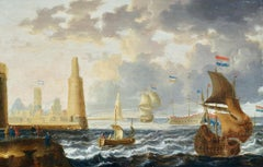 An Oriental Port - 17th Century Marine Oil, Ships at Sea by Peter van den Velde