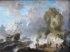 """Warships off a Rocky Coast"" Belgian C.17th Old Master Ship Figures In Seascape"