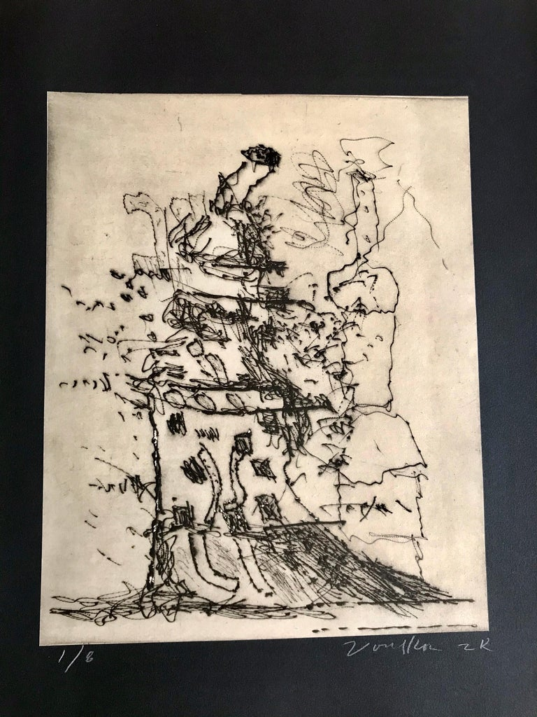 1924-2002  A rare and late piece of art on paper by one of the great abstract ceramic artist of California. A nice print image of a stacked sculpture idea in textured sgraffito. The print is professionally attached to the black wove paper which is