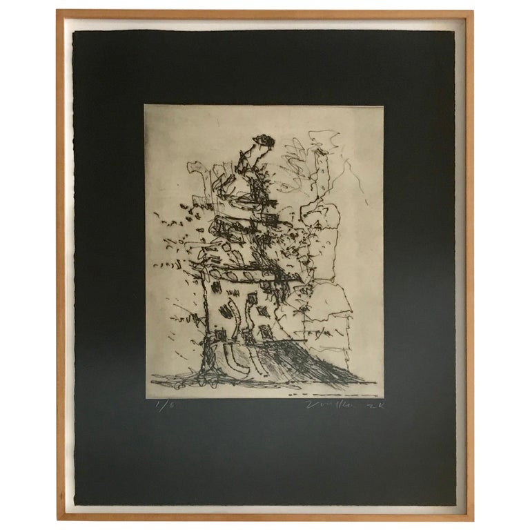 Peter Voulkos Drypoint Etching  For Sale