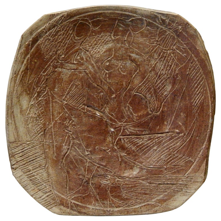 Peter Voulkos American Studio Potter, Large Charger, circa 1950-1955 For Sale
