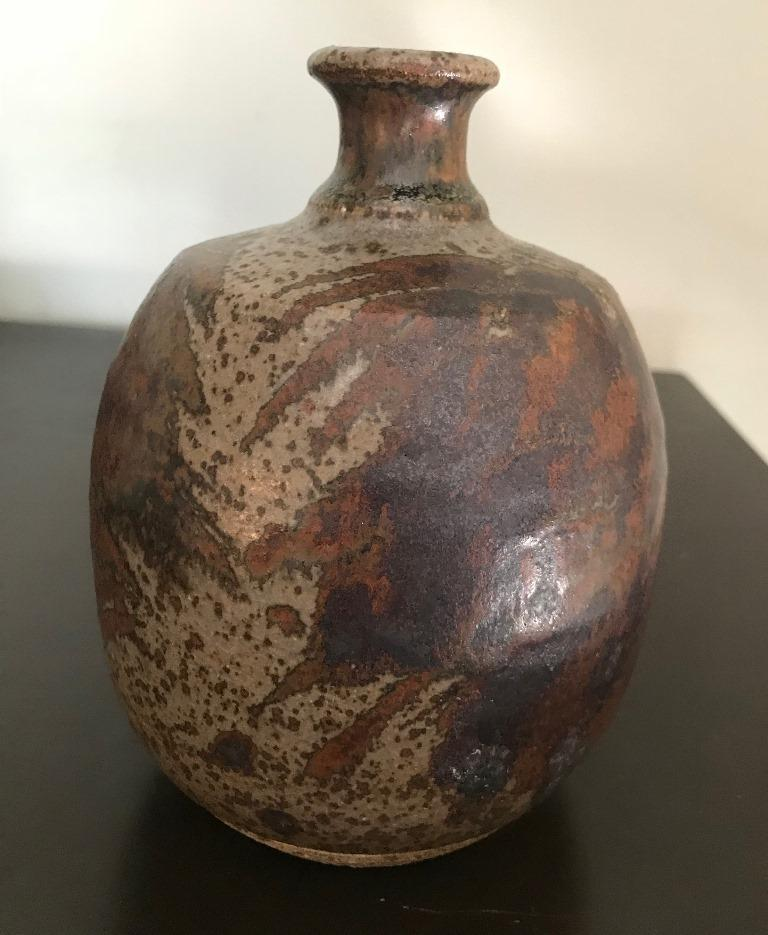 Peter Voulkos Signed Mid-Century Modern Stoneware Pottery Vase, circa 1950s For Sale 4