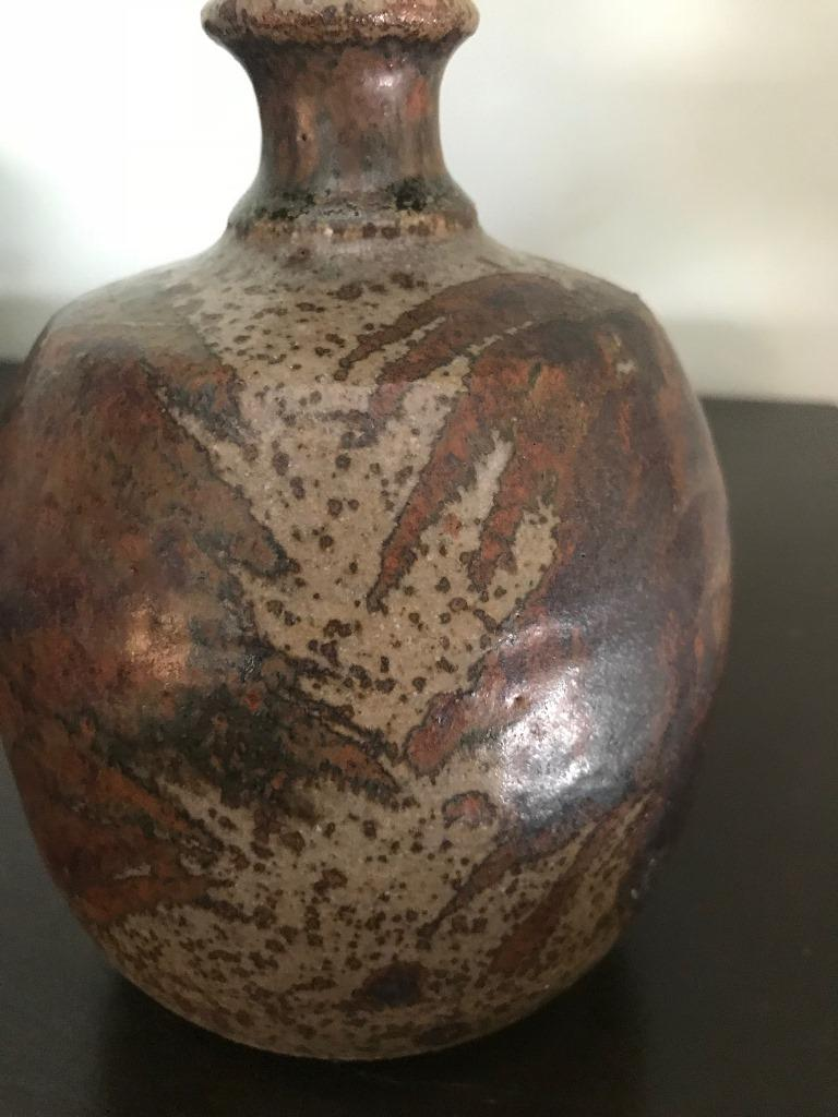 American Peter Voulkos Signed Mid-Century Modern Stoneware Pottery Vase, circa 1950s For Sale