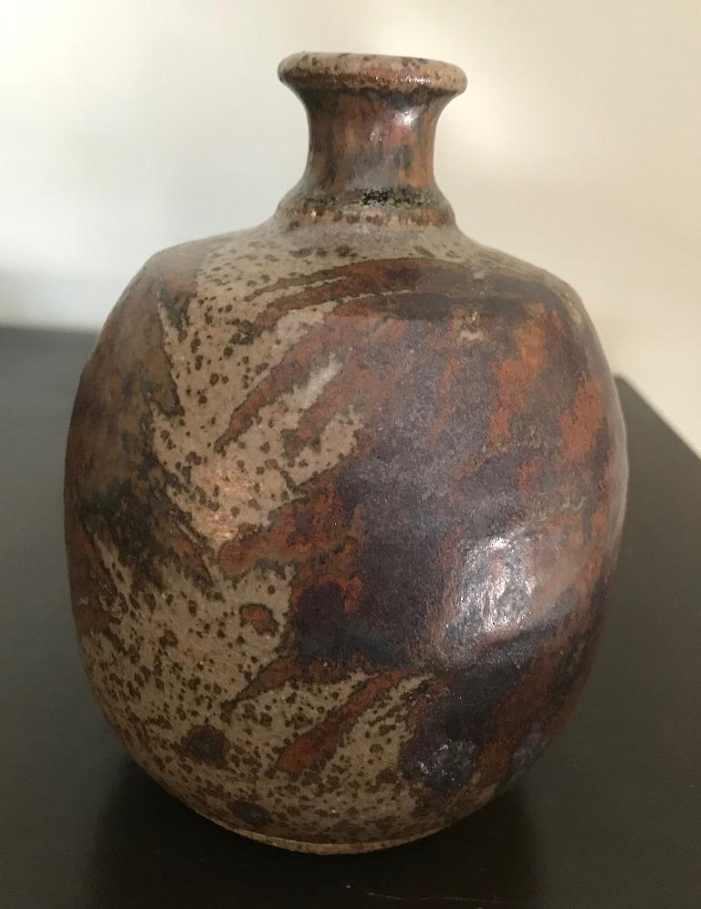 Mid-20th Century Peter Voulkos Signed Mid-Century Modern Stoneware Pottery Vase, circa 1950s For Sale