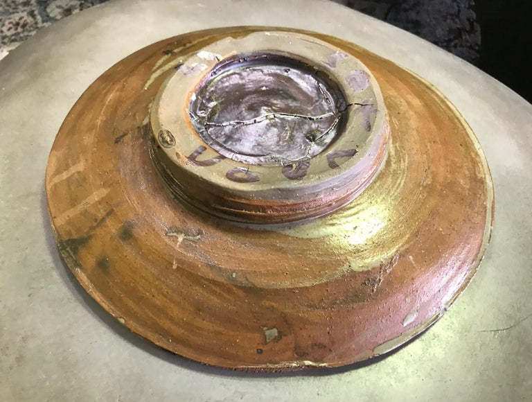 Peter Voulkos Signed Large Heavy Modern Glazed Stoneware Plate Charger, 1961 For Sale 3