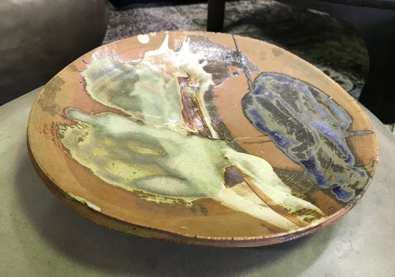 Peter Voulkos Signed Large Heavy Modern Glazed Stoneware Plate Charger, 1961 For Sale 8