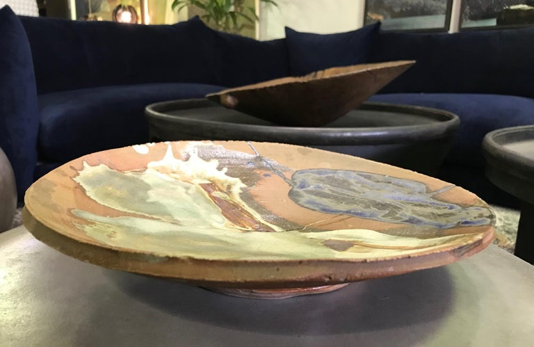 American Peter Voulkos Signed Large Heavy Modern Glazed Stoneware Plate Charger, 1961 For Sale