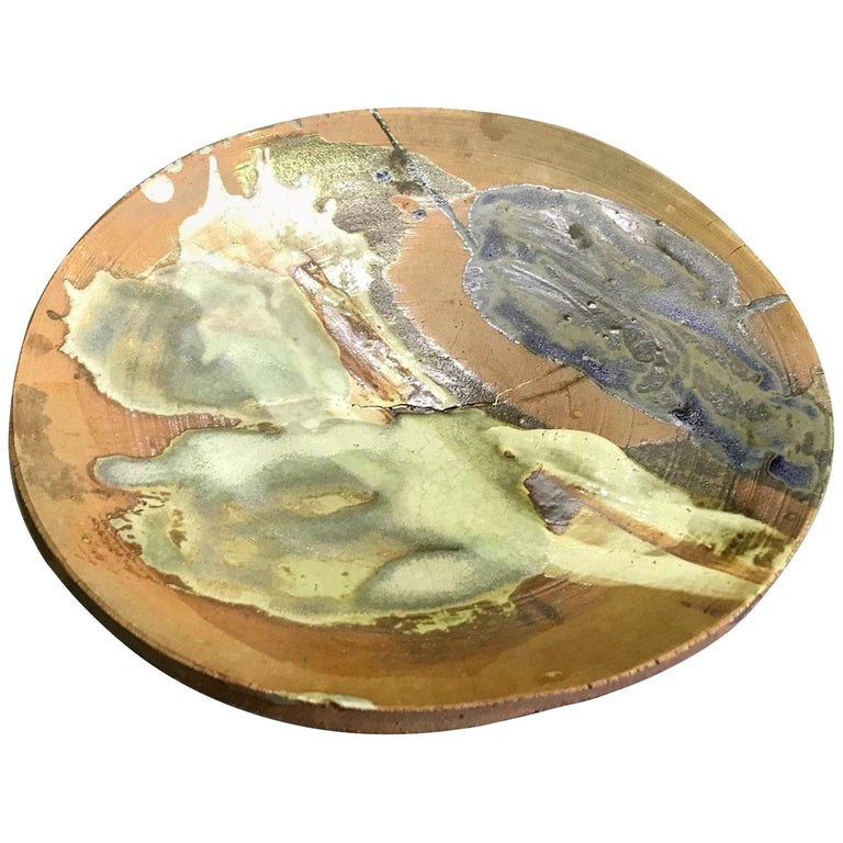 Peter Voulkos Signed Large Heavy Modern Glazed Stoneware Plate Charger, 1961 For Sale