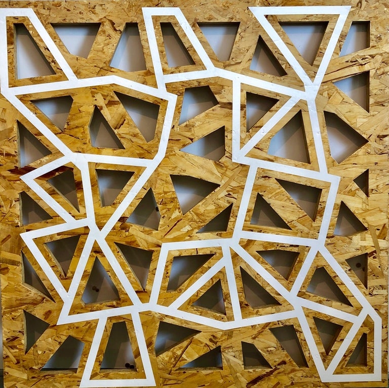 Oil-based alkyd enamel on plywood panel with cuts. this is a cut plywood wall relief sculpture with paint on it. This has an architectural quality to it.   Peter Wegner (born 1963) is an American artist whose works consist of painting, photograph,