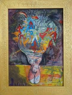 Flowers in vase. 2018. Oil, mixed media on cardboard, 56,5x41 cm